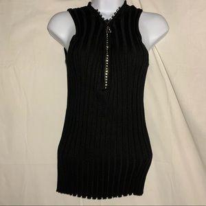 Belldini black rhinestone zipper knit top Sweater